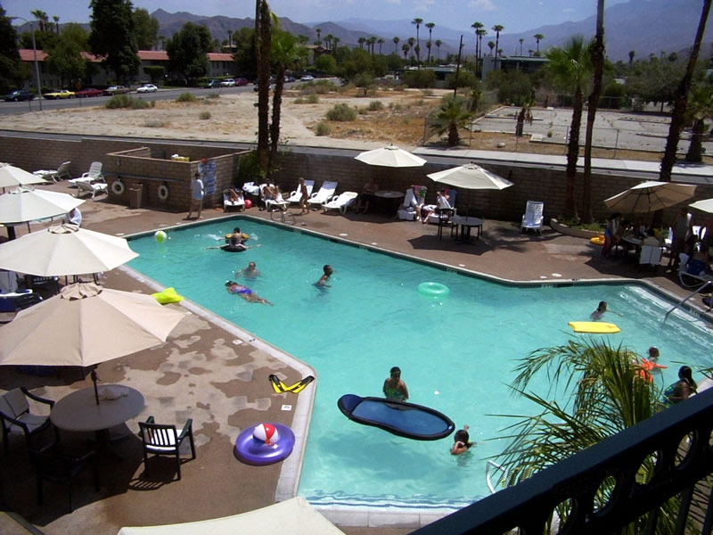 Palm Springs California - View of Comfort Inn Swimming Pool from our Suite